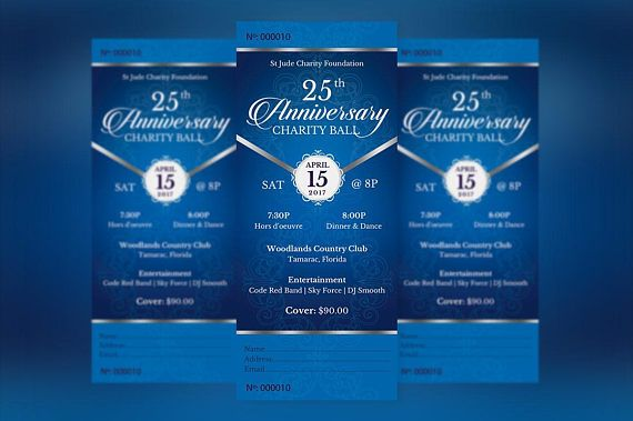 """Blue Silver Anniversary Banquet Ticket Publisher Template is for any anniversary event that needs an elegant theme. The gala ticket is created with a deep blue background and highlighted with silver. In this package you'll find 1 Publisher file.  This template is a Microsoft Publisher template designed by Godserv to be edited with Microsoft Publisher 7 and higher. Once you have downloaded this template, use Microsoft Publisher to make edits.  WHAT'S INCLUDED - 1– 3""""x7 Blue Silver Anniversary ..."""