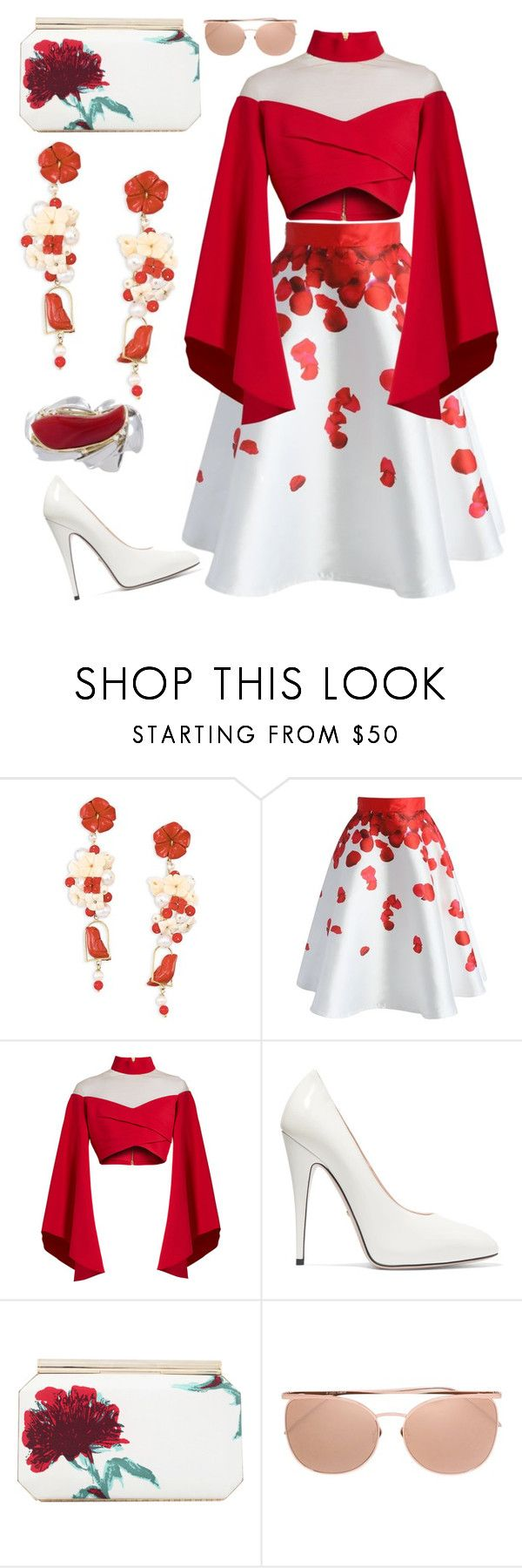 """skirt"" by rrnth ❤ liked on Polyvore featuring Of Rare Origin, Chicwish, Balmain, Gucci, Oscar de la Renta and Linda Farrow"