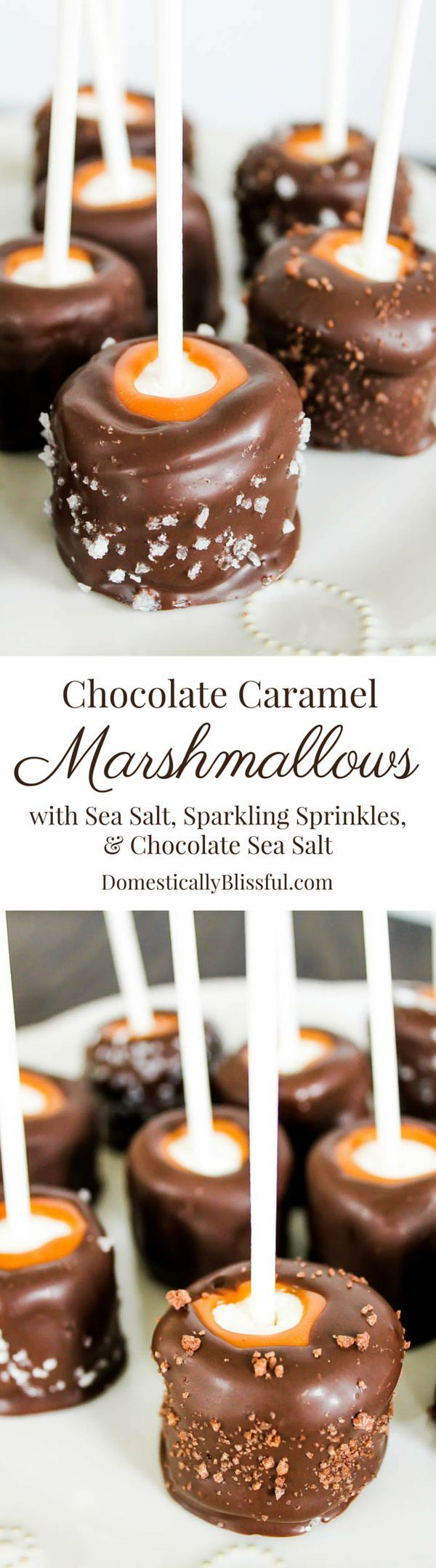 Chocolate Caramel Marshmallows with sea salt, sparkling sprinkles, and chocolate sea salt recipe. #desserts #chocolate
