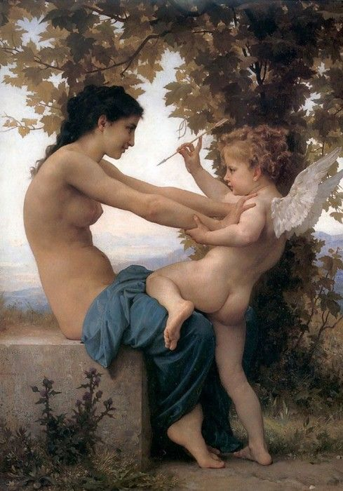 Young girl defending herself against cupid, William Adolphe Bouguereau