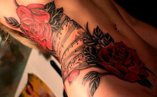 Rosas e Música Estômago Tatuagens