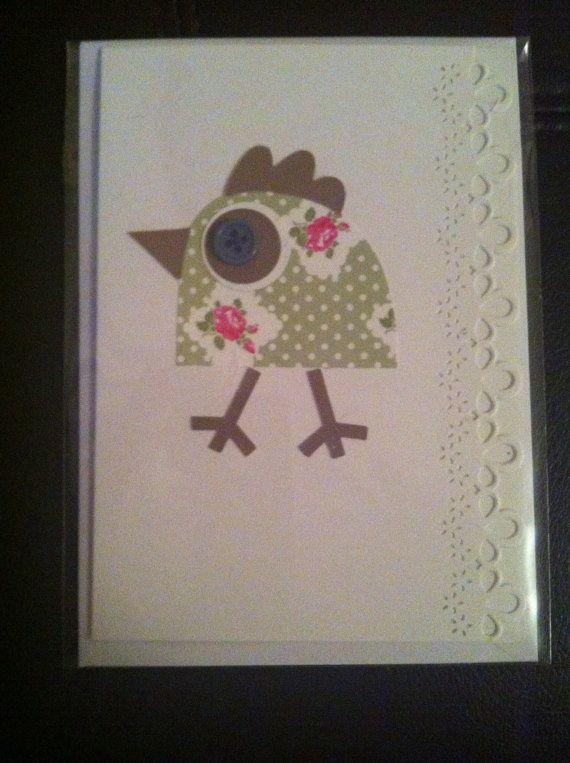 Flowers and buttong Bird greetings card handmade by lovewithcards, £1.50
