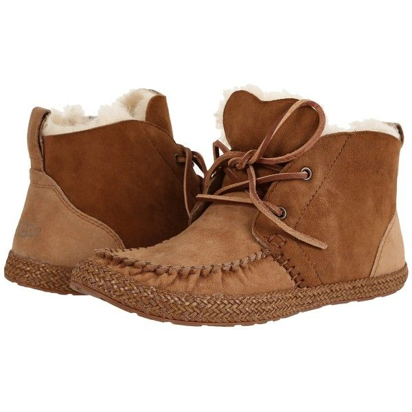 UGG Kenai (Chestnut) Women's Pull-on Boots ($120) ❤ liked on Polyvore featuring shoes, boots, short moccasin boots, slip-on shoes, ankle boots, slip on boots and moccasin ankle boots