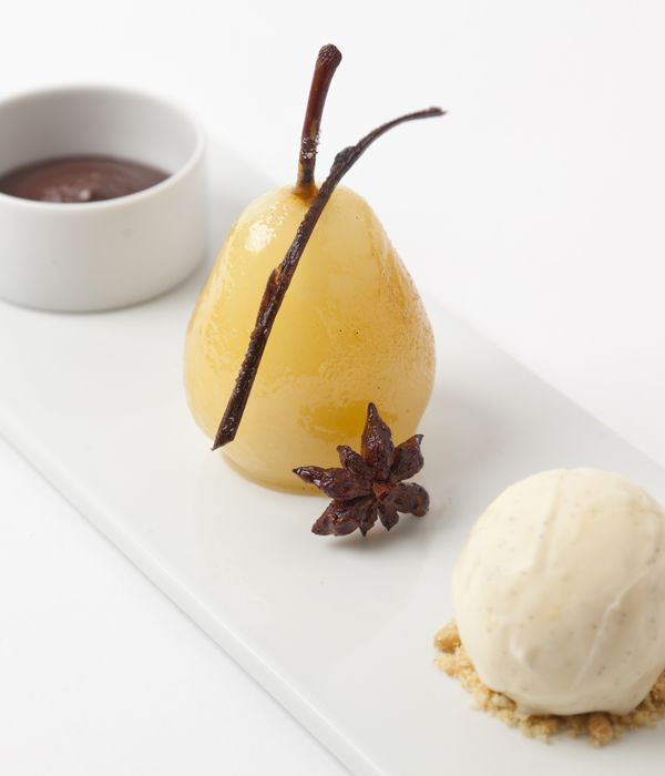 Adam Gray's recipe takes the well known combination of pear and chocolate, but shows it's still capable of thrilling guests. Here a syrup of dessert wine, orange juice and star anise, plus a final flourish of the blowtorch, lifts the gracefully tapered Conference pears above the everyday.