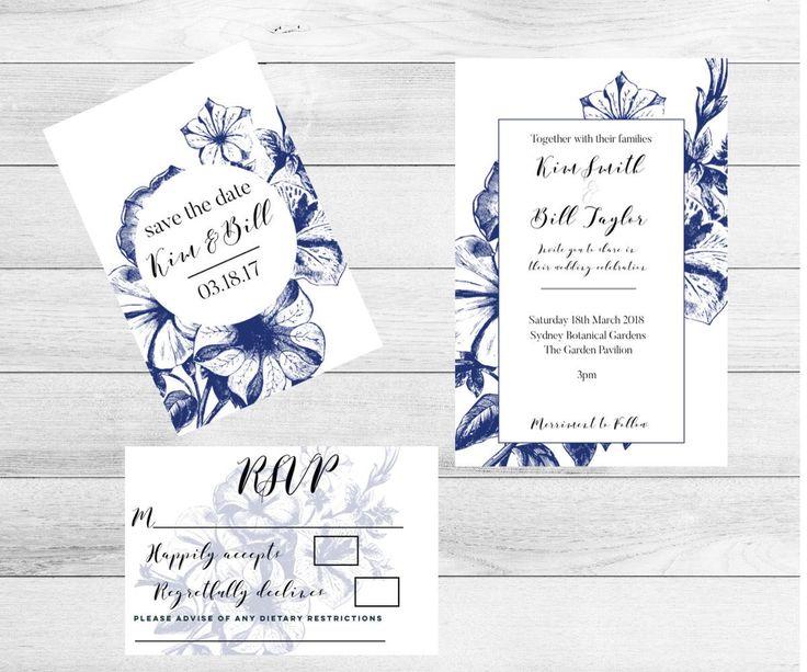 Excited to share the latest addition to my #etsy shop: Botanical Wedding Invitation-Wedding Invitation set-Wedding invitations-Invitation-Wedding invite-Boho Wedding-Invitations #weddings #invitation #blue #white #weddinginvitation #weddinginvite #invitations #floralinvitations #weddingkit
