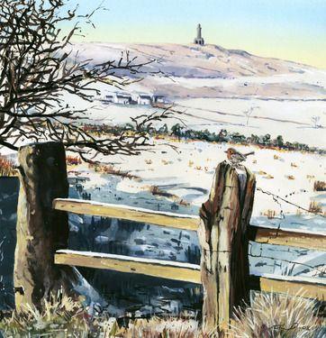 """Saatchi Online Artist Billy Almond; Painting, """"Darwen Tower and Robin"""""""
