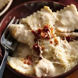 Basil Chicken Ravioli Carbonara Recipe - So GOOD. Those progresso recipe starters might be my new favorite thing!