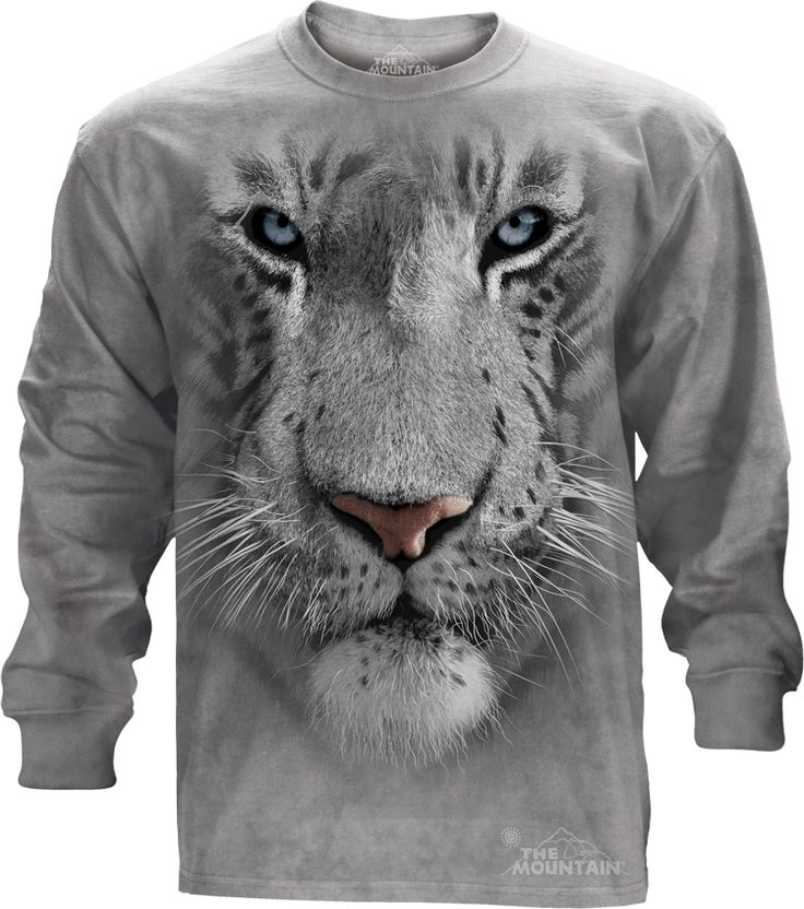 The Mountain White Tiger Face Long Sleeve Tee