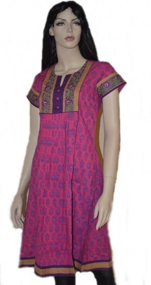 This is  a  beautiful Fuschia colored  Cotton Anarkali style printed kurti. It has  beautiful and delicate embroidery on the yoke  and on its short sleeve hand.