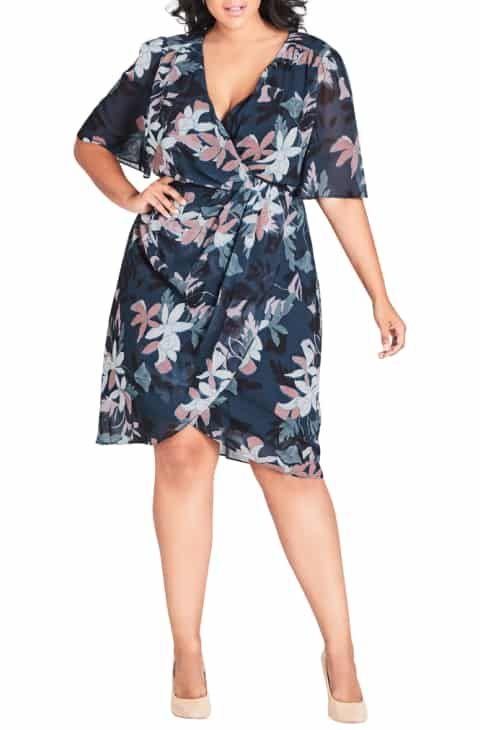 ae8119c06cc City Chic Luna Floral Print Twist Dress (Plus Size) Compare Price ...
