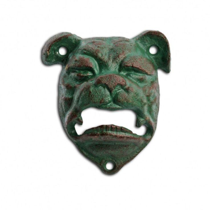 Bottle Opener Cast Iron Bull Dog Head Wall Mounted Bar Beer Opener Verdigris #Gardens2you