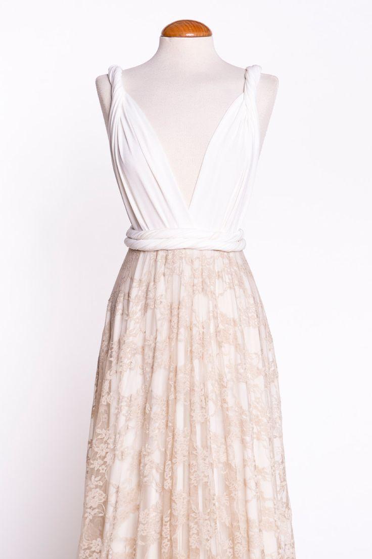 Laço branco vestido curto Mostarda vestido de recepção by mimetik