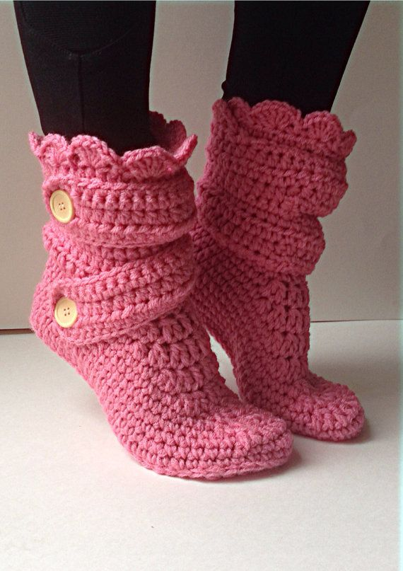 Women's Crochet Pink Slipper Boots, Crochet Slippers, Crochet Booties, Crochet House Shoes, Crochet Winter Boots, Rose Slipper Boots on Etsy, $40.00 CAD