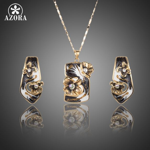 Unique Gold Plated Black Flower Oil Painting Pattern Stud Earrings and Pendant Necklace Jewelry Set TG0186