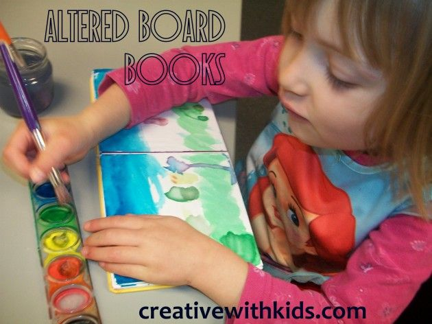 Here's an idea for those tattered board books and a great way to make a kid's art memento.
