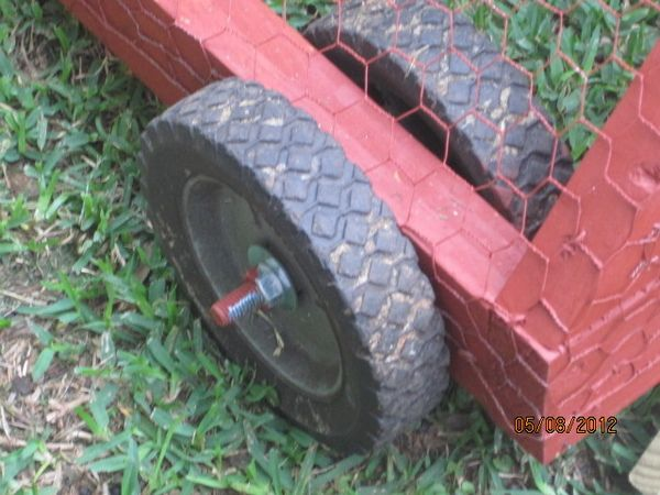 Chicken Tractor wheel assembly