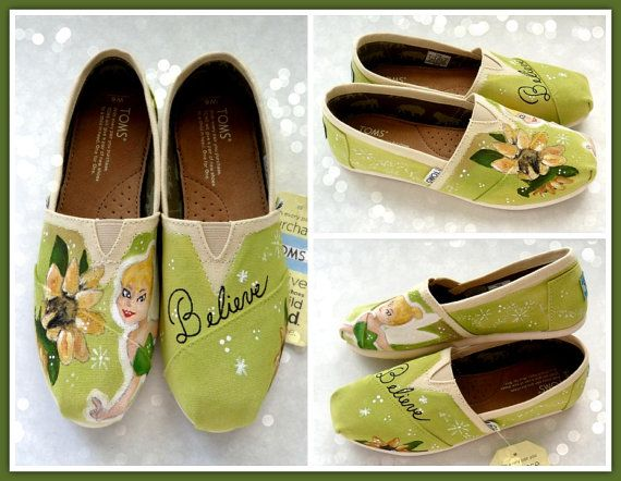 Women's Tinkerbell Painted TOMS Disney Painted by YoursTrulyShoes