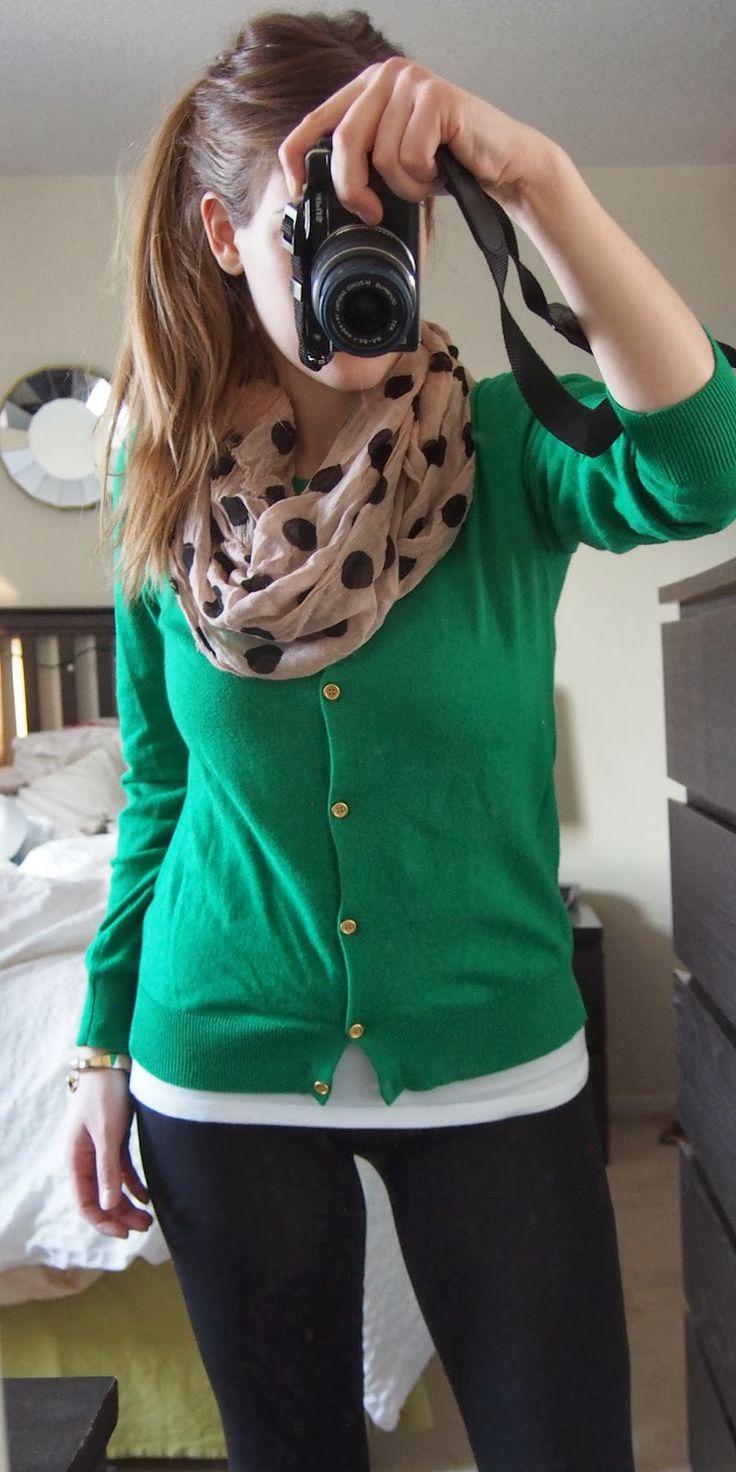 Green cardigan + polka dots