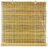Oriental Furniture Burnt Bamboo Roll Up Window Blinds, Natural, 72-Inch Wide