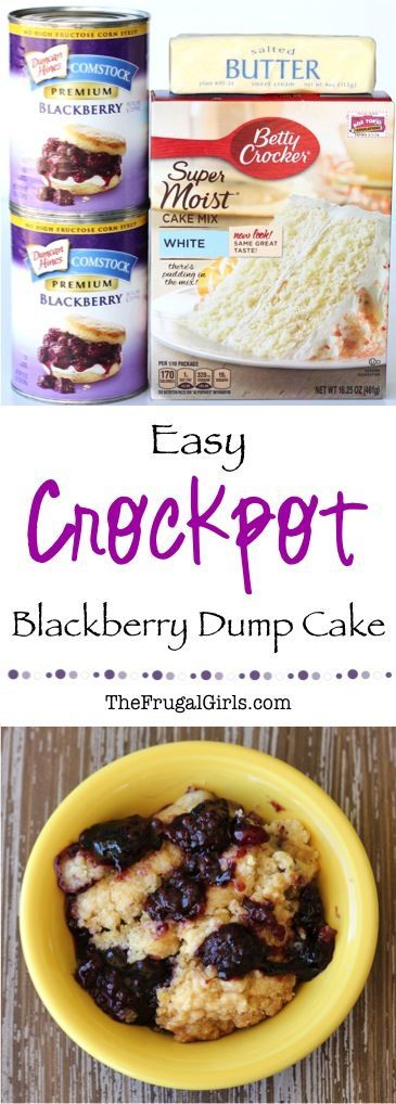Crockpot Blackberry Dump Cake Recipe! this delicious dessert is SO easy... just dump it in the Slow Cooker and walk away!