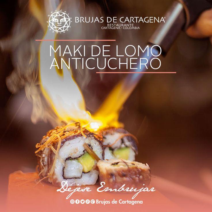 Maki de Lomo Anticuchero, cocina nikkei en Brujas de Cartagena Cartagena, Colombia
