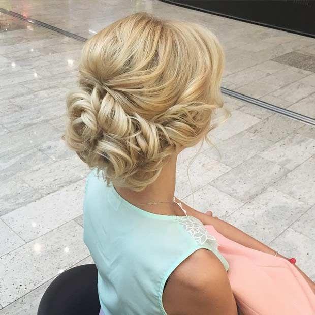 Curly Low Bun + Teased Crown