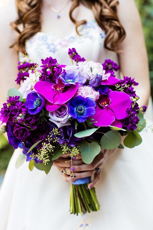 Vibrant purple hues for a Disneyland bride's bouquet