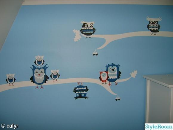 ugglor,väggmålning,barnrum,fondvägg