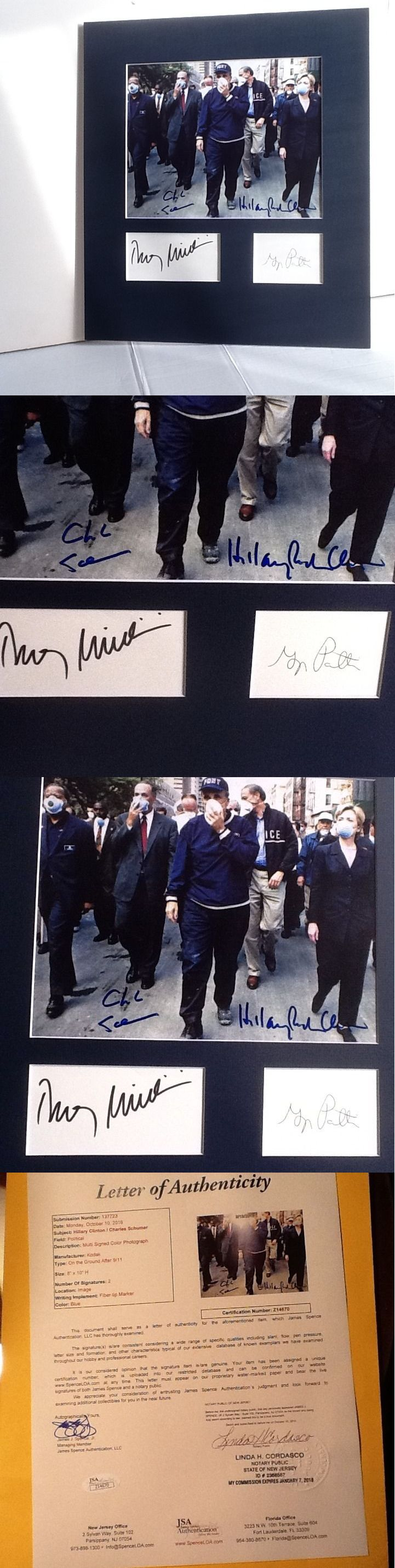 Hillary Clinton: Hillary Clinton Chuck Schumer Signed Autograph 8X10 Photo Rudy Giuliani Jsa Loa BUY IT NOW ONLY: $550.0