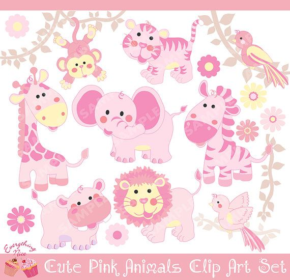 Pink Cute Savannah Animals Clipart Set by 1EverythingNice on Etsy, $5.00