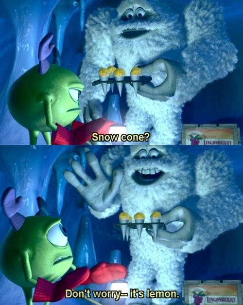Monsters Inc. <3 lol i love Mike Wizoski :) !!