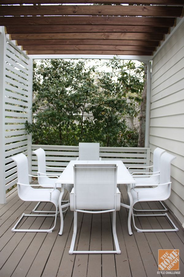 Spray painted outdoor furniture http://ext.homedepot.com/community/blog/patio-decor-ideas-modern-family-friendly-deck/