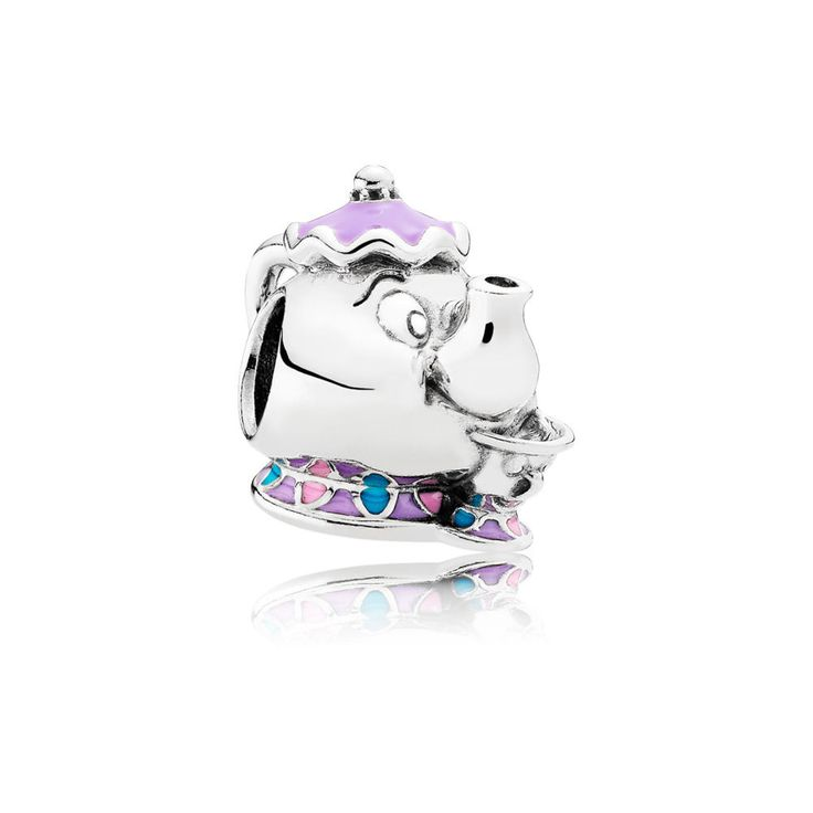 This delightful sterling silver and enamel charm represents two of the most unforgettable characters from Disney's Beauty and the Beast: the enchanted teapot, Mrs. Potts, and her teacup son, Chip.