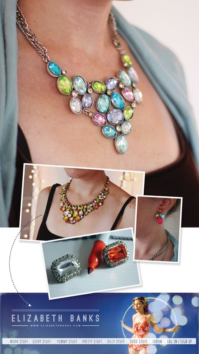 Aunt Peaches: DIY Statement Necklace. You can colour glass rhinestones with Sharpies?!