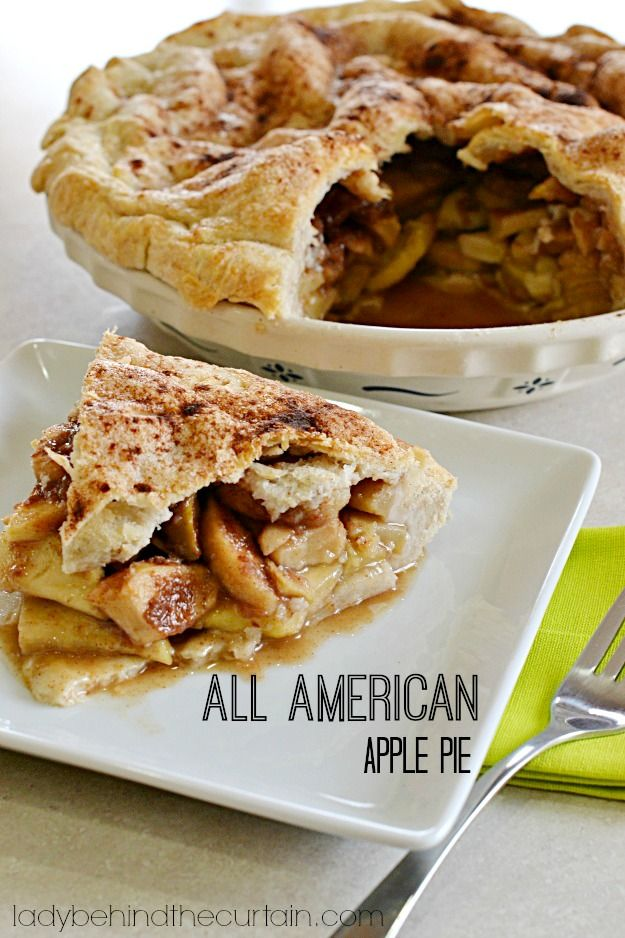 This All American Apple Pie is stacked high with juicy Granny Smith apples, brown sugar and cinnamon.