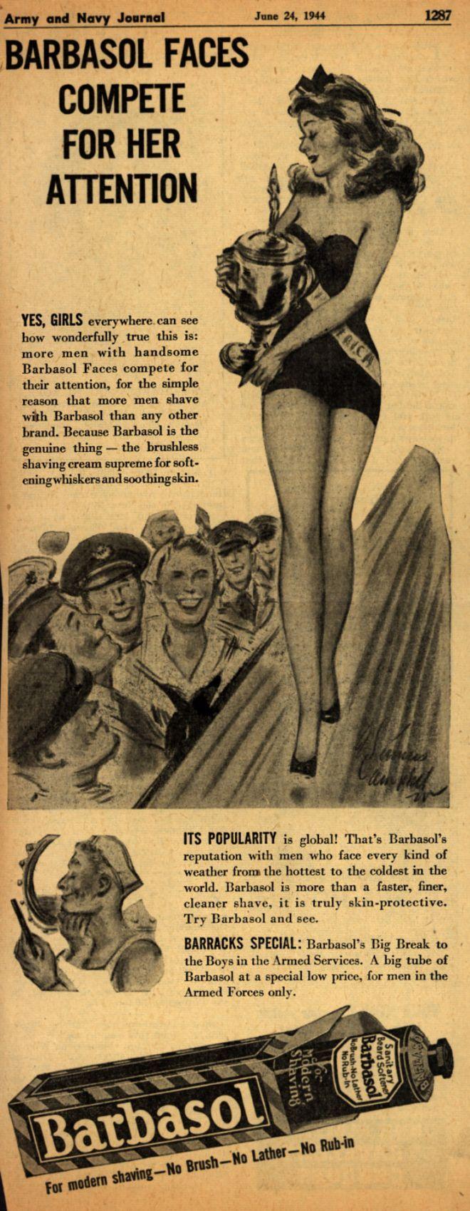 Vintage bathroom ads - Barbasol Barbasol Faces Compete For Her Attention 1944
