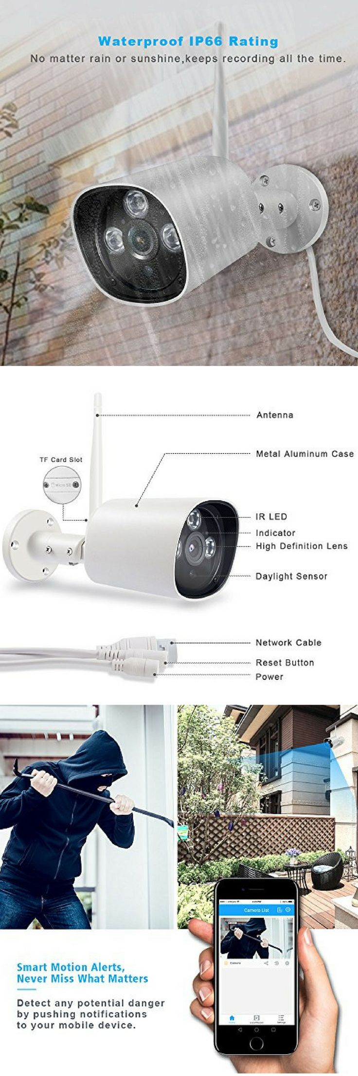 Wireless WiFi Bullet Outdoor IP Security Camera with Night Vision up to 66ft, Motion Detection,IP66 Waterproof, Support Timeline Playback, Turn On/Off Camera