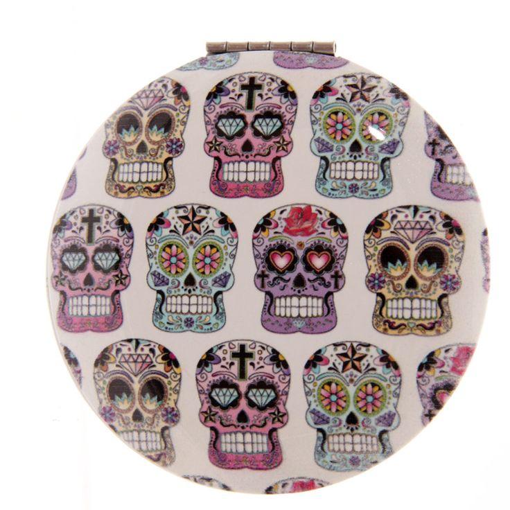 Compact Mirror - Dia de los Muertos - Mexican Skull http://www.raspberryheels.com/shop/produkt,en,stylish,lusterko-okragle-biale.html