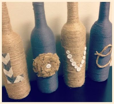 DIY vases. Yarn wrapped bottles. LOVE craft. Twine, buttons, burlap, wine bottles. Valentines day project. Popular with the Poplins