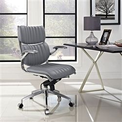 Mid century modern gray leather executive office chair with arms. An exceptional buy at just $225.99.