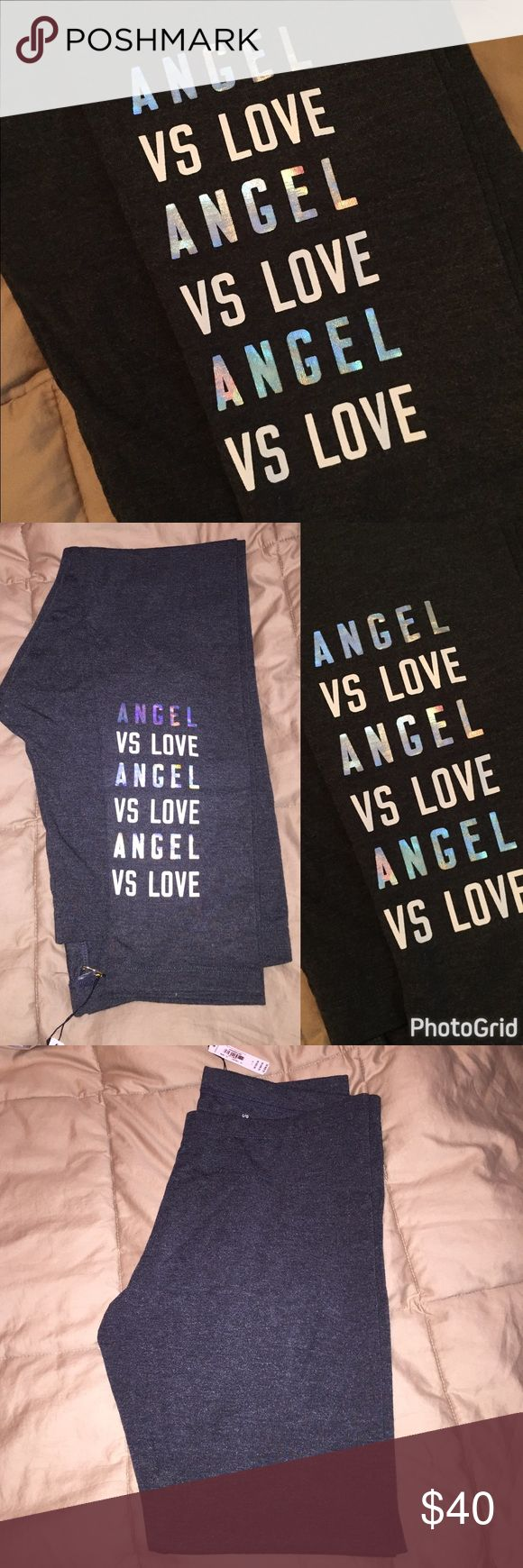 🆕VS LOVE Leggings Charcoal heathered grey leggings with iridescent and white text on the leg. NO TRADES ❗️PRICE FIRM, OFFERS WILL BE IGNORED❗️ Victoria's Secret Pants Leggings