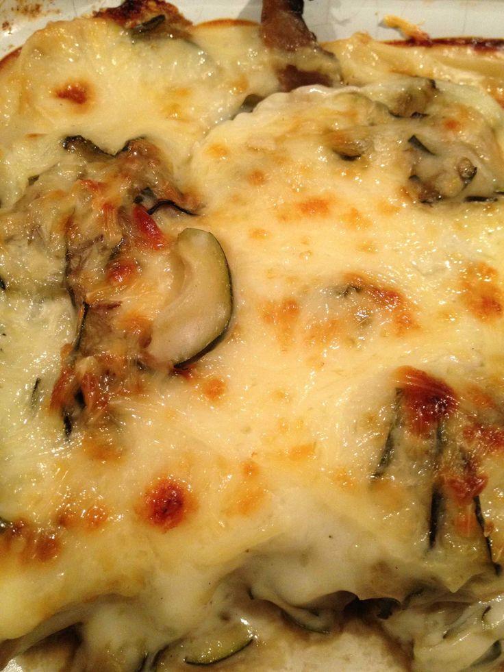 Gratin courgettes champignons