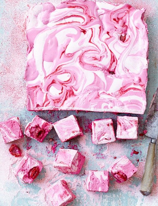 Raspberry ripple marshmallows: If you've never made marshmallows before then this is the best recipe. We love the rich raspberry ripple, that's easy to achieve. Make for a gift, afternoon tea or a dinner-party dessert.