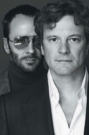 Tom Ford and Colin Firth, by Nigel Parry