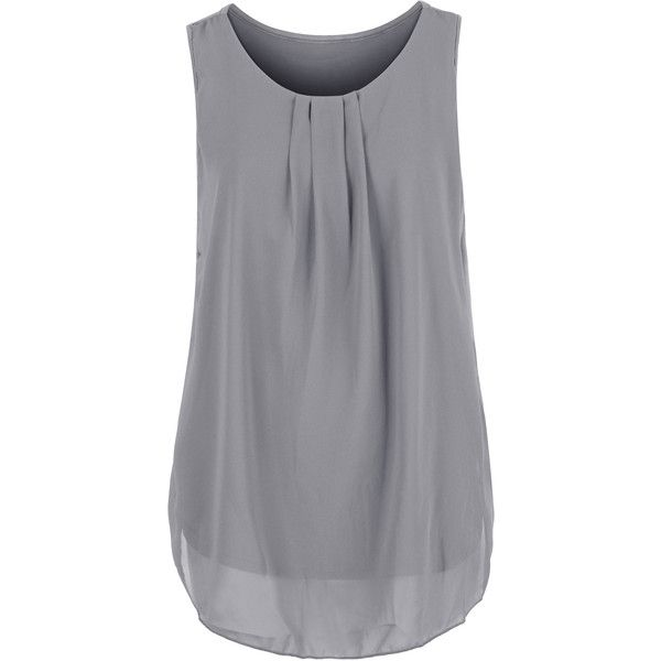 ililily Solid Color Semi-sheer Pleated Front Chiffon Boxy Sleeveless... ($12) ❤ liked on Polyvore featuring tops, blouses, shirts, grey, tanks, chiffon, no sleeve shirts, chiffon shirt, chiffon top and shirts & tops