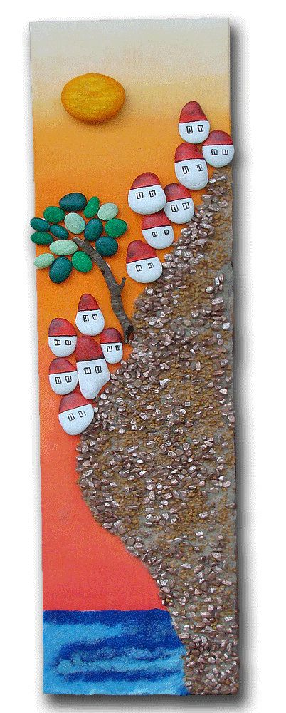 Size : 80x20x1,5cm or 32x8x0,7inch Weight: 2, 450kg The picture is made ​​of wood and acrylic painted stones. Mountain is made with decorative small stones, and sea of decorative blue sand. So picture is painted at an new piece of wood - acrylic and to this are tightly glued stones. Coated! Can hang it on the wall.  Unique and unusual gift for anyone.