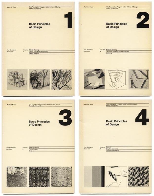 1977 Manfred Maier BASIC DESIGN PRINCPLES School of Design Basel: 4 Volume Set