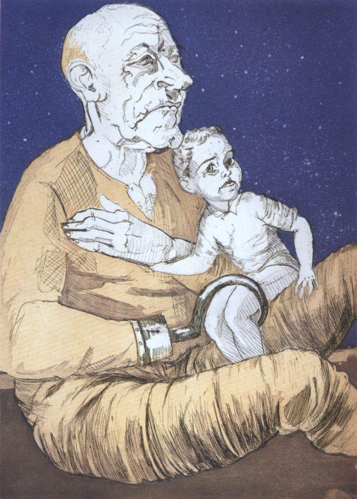 """Paula Rego fez também várias ilustrações de contos populares e de livros para crianças. Entre elas, realizou ilustrações do 'Peter Pan' às quais conseguiu trazer grande nível de ironia e sofisticação. No entanto, estas """"ilustrações"""" são, acima de tudo, """"interpretações"""" com as quais a artista funde a sua própria bagagem emocional. 'Captain Hook and Lost Boy' (1992)"""