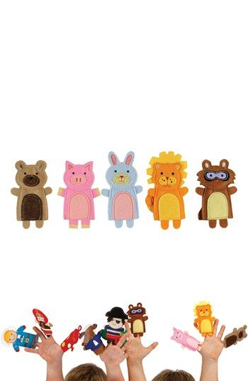 Embroidered finger puppets - animal friends