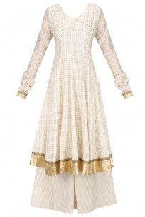 White Angrakha Style Anarkali Kurta and Sharara Pants Set #surendri #shopnow #ppus #happyshopping